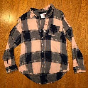 Justice pink and navy plaid shirt. Size 14/16